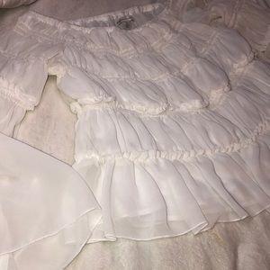 White ruffle midi blouse